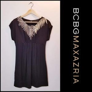 BCBGMAXAZRIA Black Silk Leaf Embellished Dress